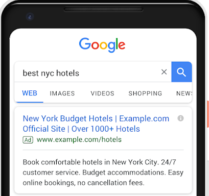 Example of a Google Text Ad with 110 extra characters including a third headline of 30 characters and second description of 90 characters